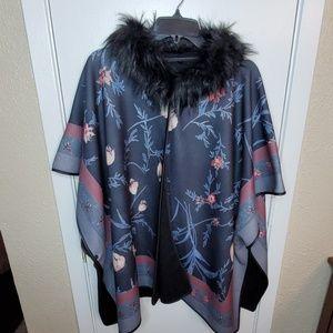 Fleece Kimono with Faux Fur Collar